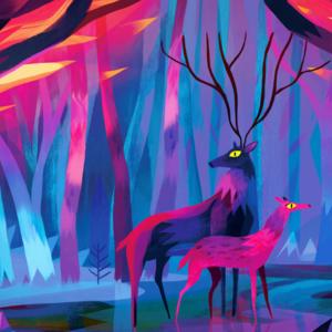 Le couple de cerfs par Juliette Oberndorfer