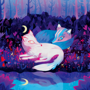 Deux renards par Juliette Oberndorfer