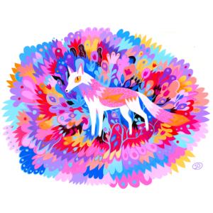 Loup coloré par Juliette Oberndorfer