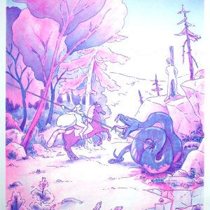 Georgette domptant le dragon de Geoffrey Grimal – risographie Vertes d'Orage